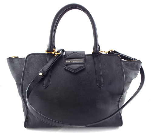 MARC JACOBS Logo Large Black Leather Tote Hand Bag