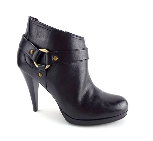 COLE HAAN Size 7.5 Black Leather Ankle Boots w/ Harness 7 1/2