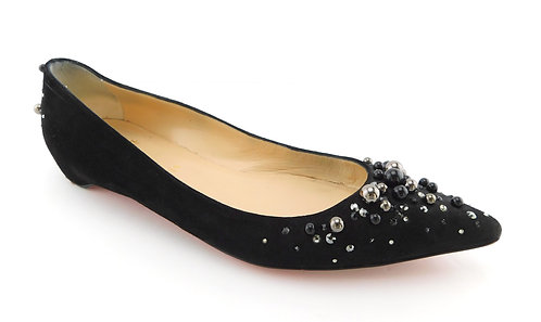CHRISTIAN LOUBOUTIN Jeweled Black Suede Flats 40