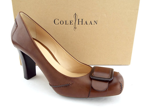 COLE HAAN Brown Leather Buckle Belted Pumps 8.5