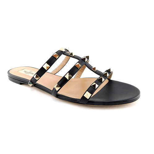 VALENTINO Size 8.5 Black ROCKSTUD Caged Slide Sandals Shoes 39 Eur