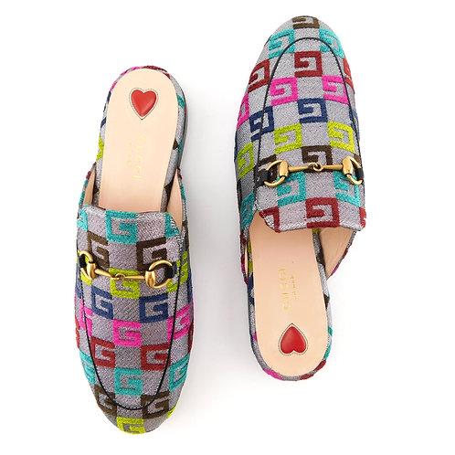 GUCCI Size 9 PRINCETOWN GG Color Logo Mules Flats Shoes 39.5 Eur