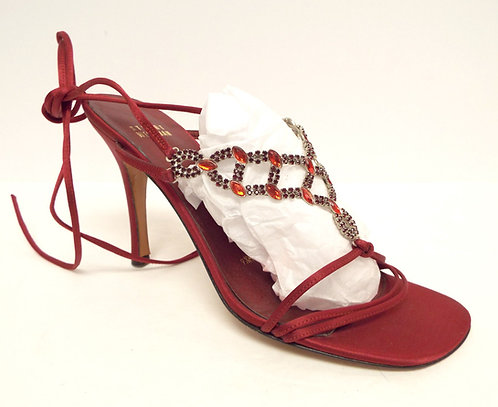 STUART WEITZMAN Red Satin Jeweled Evening Heel 9.5