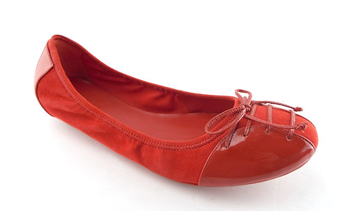 COLE HAAN Red Patent Suede Ballet Flat 9.5