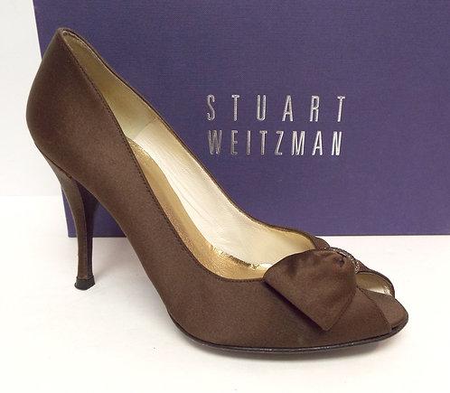 STUART WEITZMAN Bronze Satin Evening Pump 6