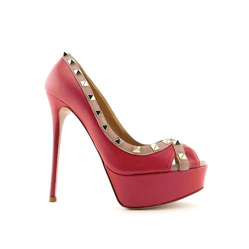 VALENTINO Size 6.5 Red ROCKSTUD Platform Peep Toe Heels Pumps Shoes 36.5 Eur