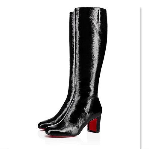 CHRISTIAN LOUBOUTIN Black Cadrilla Botta Block Heel Boots 39