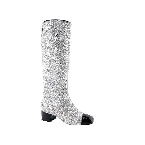 """CHANEL  """"GoGo Glitter"""" Square Cap Toe Coarse Gliter Boots  Size 37 Eur  or 7 US"""