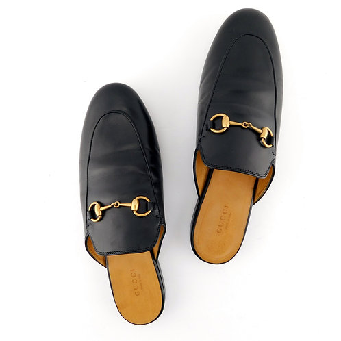 GUCCI Size 9 PRINCETOWN Black Kid Leather Horse Bit Mules Flat Shoe 39.5 EUR