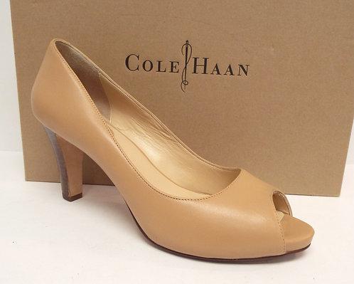 COLE HAAN Beige Leather Open Toe Pump 8
