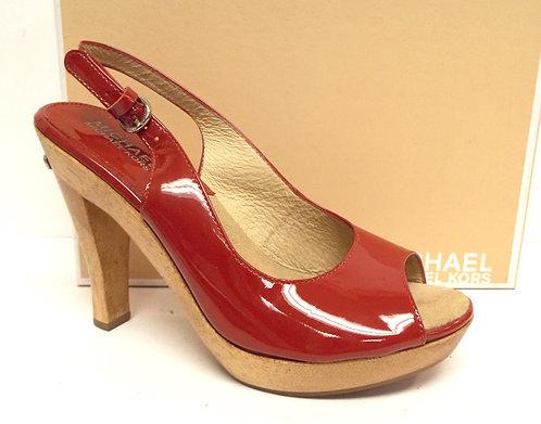 MICHAEL KORS Red Patent Slingback Heel 6.5