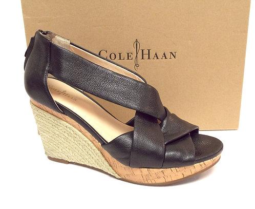 COLE HAAN DELFINA Black Wedge Espadrille Sandal 9
