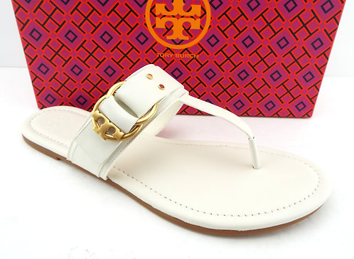 TORY BURCH Ivory Leather Thong Logo Sandals 10