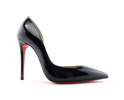 CHRISTIAN LOUBOUTIN Size 4 IRIZA Black D'orsay Heels Pumps Shoes 34 Eur
