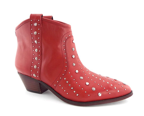 SAM EDELMAN Red Studded Western Ankle Boots 9