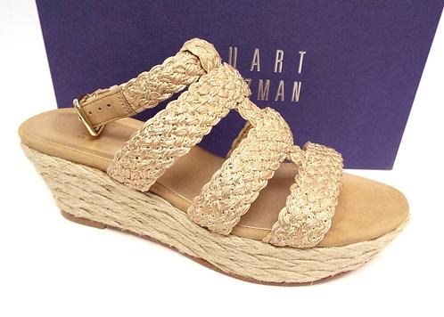 STUART WEITZMAN Gold Braided Platform Espadrille Sandals