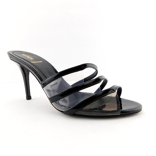 FENDI Size 7 Black Patent & Smoke PVC Slide Heels Pumps Sandals Shoes 37 EUR
