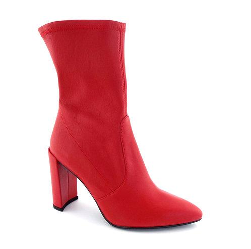 Stuart Weitzman Red Stretch Leather Bootie 7.5