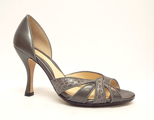 COLE HAAN Pewter Open Toe Pump 5