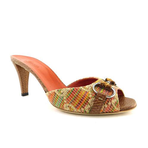 GUCCI Size 7.5 Multi Color Raffia Bamboo Horsebit Heels Slides Shoes 38 Eur
