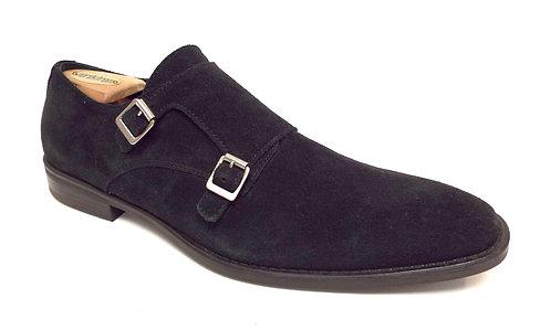 DONALD PLINER BELNEN Black Suede Monk Strap Loafer 11