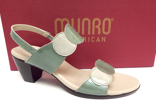 MUNRO SOLAR Green / Ivory Patent Slingback Sandal 7