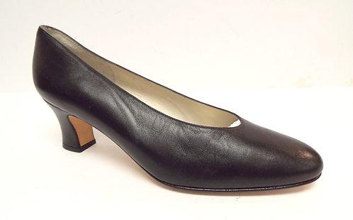 DELMAN Black Leather Almond Toe Pump 9.5