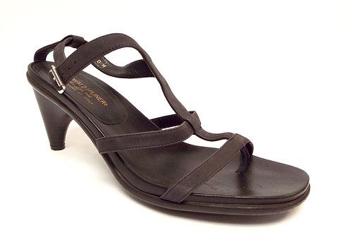 DONALD PLINER TEMIRA Black Leather Ankle Strap Sandal 10