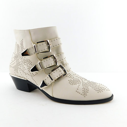 New CHLOE Size 8.5 SUSANNA Ivory Studded 3 Buckle Ankle Boots 39 Eur