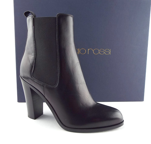 SERGIO ROSSI Black Chlsea Ankle Boots 38.5