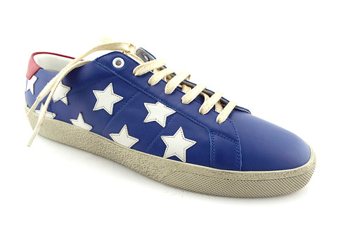 SAINT LAURENT Blue Leather Star Sneaker 42