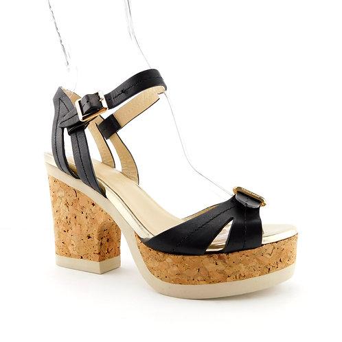 JIMMY CHOO Size 6 NEMESIS Black Platform Ankle Strap Heels Sandals Shoes 36