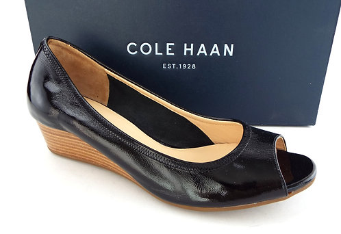 COLE HAAN AIR TALI Black Patent open Toe Wedge 6.5