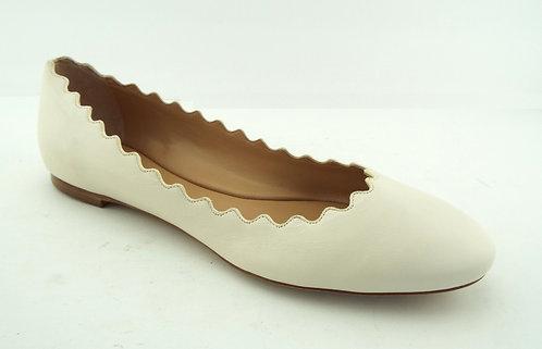 CHLOE Scalloped Cloudy White Ballet Flats 38.5