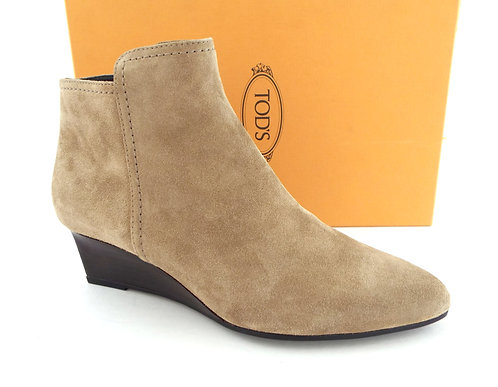 TOD'S Beige Suede Wedge Ankle Boots Booties 39.5