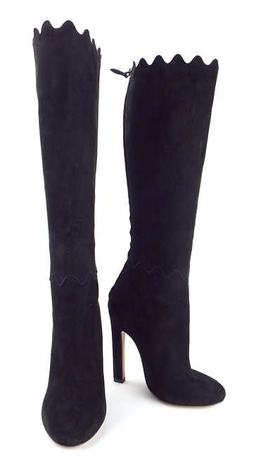 New AZZEDINE ALAIA Scallop Black Knee High Boots 36