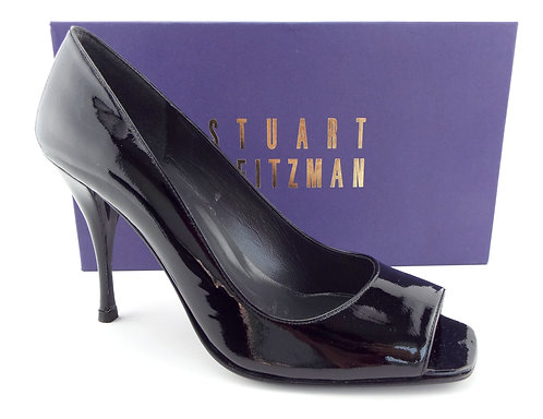 STUART WEITZMAN Black Patent Open Toe Pumps 8