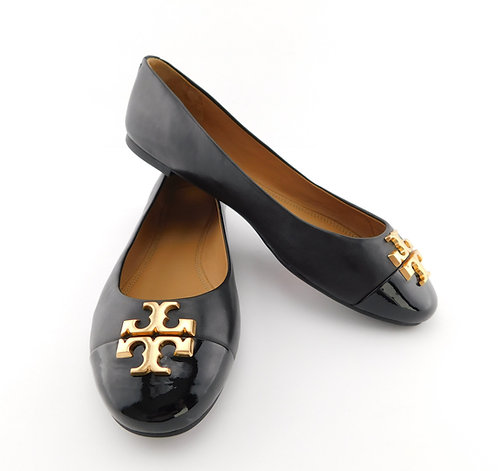 TORY BURCH Everly Logo Black Leather Ballet Flats 8 1/2