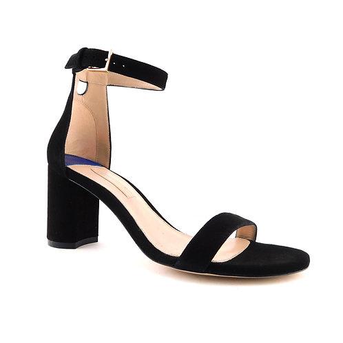 STUART WEITZMAN Size 7 75LESS NUDIST Black Suede Ankle Strap Heels
