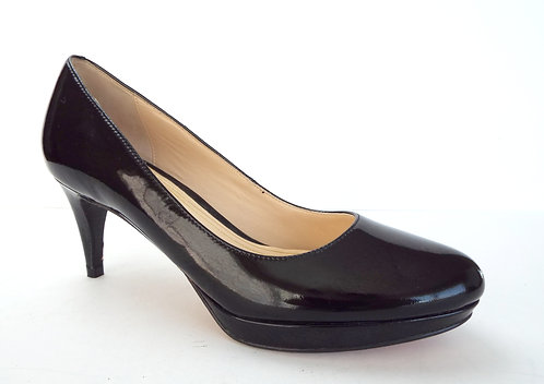 COLE HAAN Black Patent Almond Toe Pump 7.5 AA