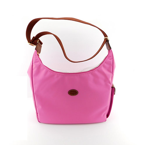 LONGCHAMP Logo Bubble Pink Shoulder Hobo Bag