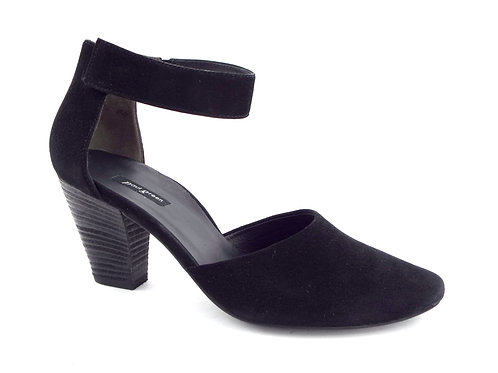 Paul Green Black Suede Ankle Strap Block Heel Pumps