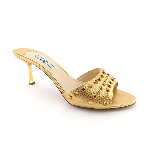 PRADA Size 8.5 Gold Metallic Studded Slide Heels Pumps Shoes 39 Eur