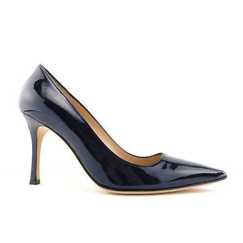 MANOLO BLAHNIK Size 8.5 BB Navy Blue Patent Heel Pumps Shoes 39 Eur