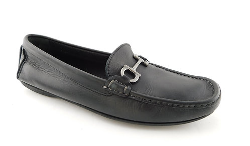 FERRAGAMO Black Logo Bit Moccasin Driver Loafers 9