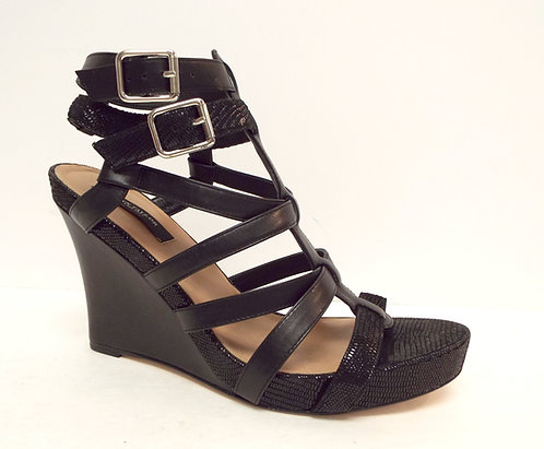 ANN TAYLOR Black Ankle Strap Wedge Sandals