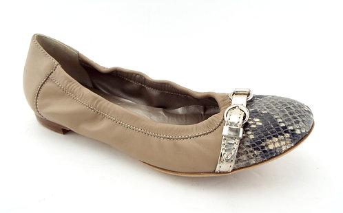 AGL Snake Cap Toe Belted Beige Ballet Flats 38.5