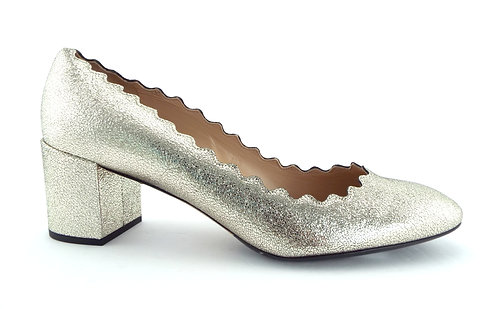 CHLOE Metallic Scalloped Block Heel Pumps 40/US9.5