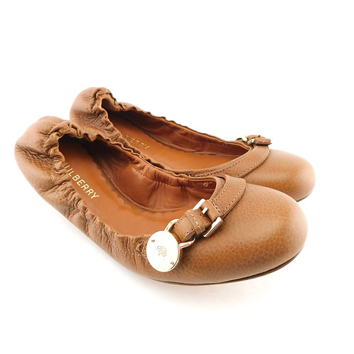 New MULBERRY Size 8 BAYSWATER Luggage Tan Ballet Flats Shoes 39 Eur