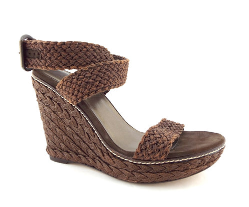 STUART WEITZMAN Brown Crochet Alex Wedge Sandals 9.5